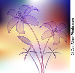 Calla Lily - illustration drawing of purple calla lilies in...