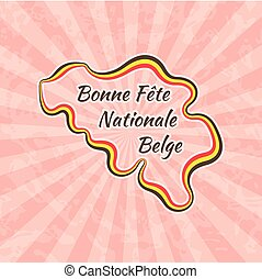 Happy Belgian National Day. Greeting card for 21 July with...