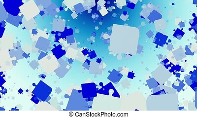 Abstract puzzle pieces in blue on white