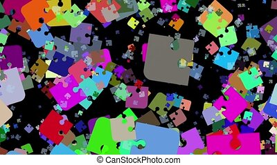 Abstract puzzle pieces in various colors