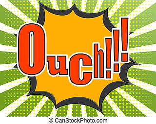 Ouch comic speech bubble image with hi-res rendered artwork...