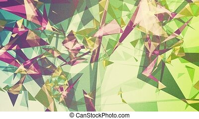 Abstract triangles in purple,blue and green