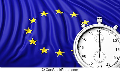 Flag of European Union with chronometer