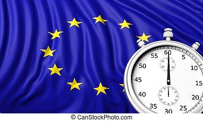 Flag of European Union with chronometer