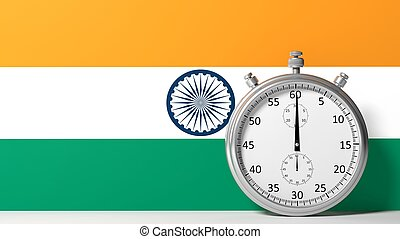 Flag of India with chronometer