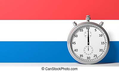 Flag of Netherlands with chronometer