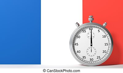 Flag of France with chronometer