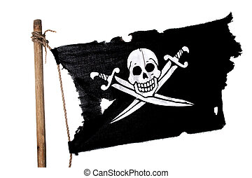 Waving Pirate Flag - Waving in the wind pirate flag on the...