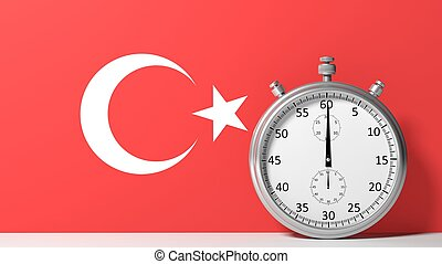 Flag of Turkey with chronometer
