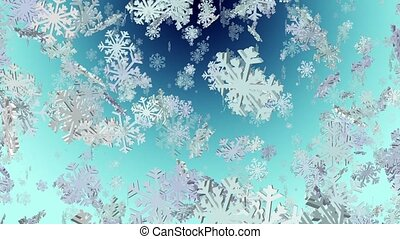 Flying snowflakes on blue