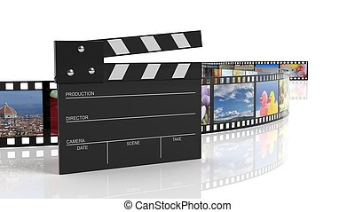 Clapperboard and filmstrip with pictures isolated on white...