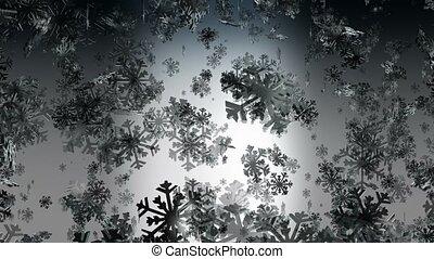 Flying snowflakes on dark