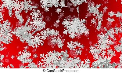 Flying snowflakes on red