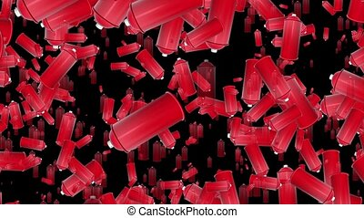 Flying red color spray cans