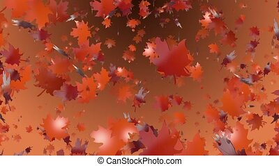 Abstract flying autumn leaves