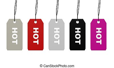 Colorful hanging sales tags with Hot word isolated on white...
