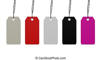 Colorful blank hanging tags isolated on white background