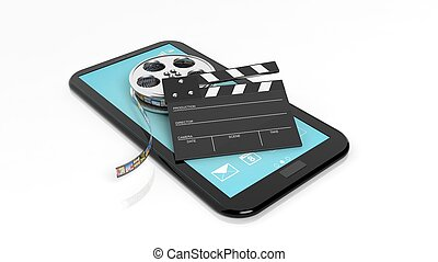Clapperboard and film reel on black tablet screen isolated...