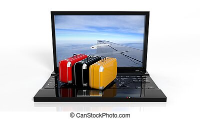 Colorful suitcases on black laptop keyboard with airplane...