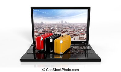 Suitcases on black laptop keyboard with city on screen,...
