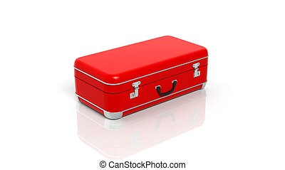 Red travel suitcase isolated on white background