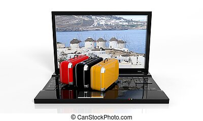 Suitcases on black laptop keyboard with Greek island on...