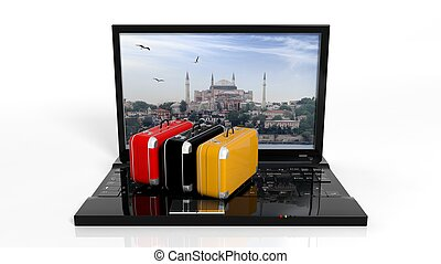 Suitcases on black laptop keyboard with Istanbul on screen,...