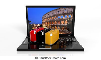 Suitcases on black laptop keyboard with Rome on screen,...