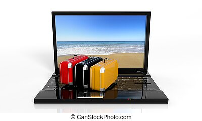 Suitcases on black laptop keyboard with beach on screen,...