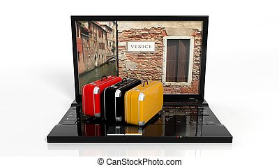 Suitcases on black laptop keyboard with Venice on screen,...
