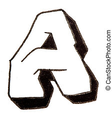 Letter A, Alphabet in graffiti style - Alphabet painted in...