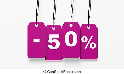 Pink hanging sales tags with fifty percent discount isolated on white background