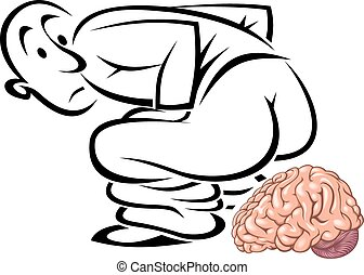 man and his brain isolated on the white background