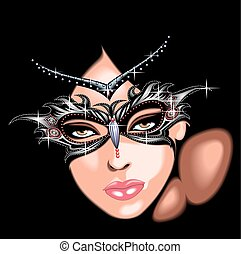 woman in the mask isolated on the black background