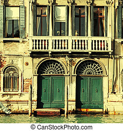 medieval house on Grand canal, Venice, Italy - Facade of...