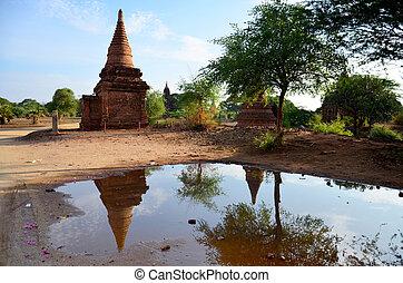 Ancient City of Bagan - Reflection pagada at Ancient City of...