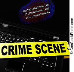 Computer crime print - digital fingerprint on a laptop with...
