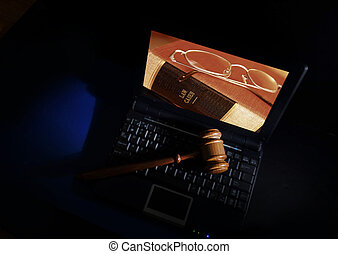 Judge gavel and laptop