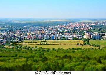 Tilt shift landscape panorama of the Kutna Hora city and...