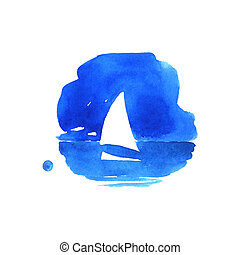 Sailboat in the sea. Watercolor illustration on a white...