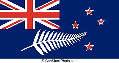 New Zealand Flag With Silver Fern - The flag of the country...