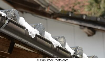 Melting snow on tiled roof