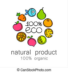 100% organic logo - 100% organic - template logo for natural...