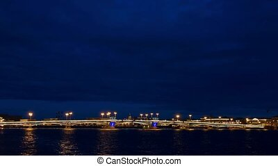 White night view of Neva river with bridge in Saint-Petersburg