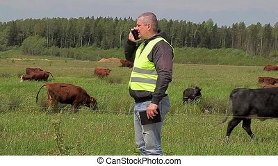 Farmer with cell phone near the cows