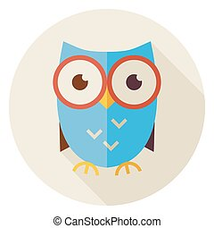 Flat Knowledge Bird Owl Circle Icon with Long Shadow - Flat...