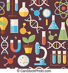 Flat Seamless Pattern Education Science and Research Objects over Dark Brown