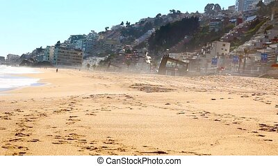 Vina del Mar, Chile Ocean seascape scenic with wave crashing...