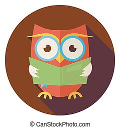 Flat Wisdom Bird Owl Reading Book Circle Icon with Long...