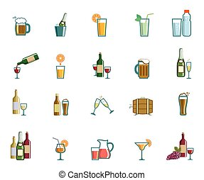 Beverage icons - Beverage set of colored vector icons on...